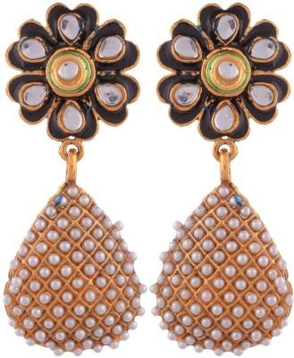 Grandiose Plated Pearl And Black Meenakari Flower Copper Jhumki Earring