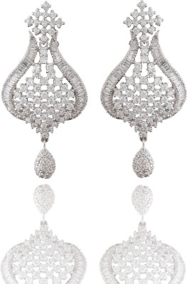 Chaahat Fashion Jewellery Beautiful Silver Plated Cubic Zirconia Copper Drop Earring