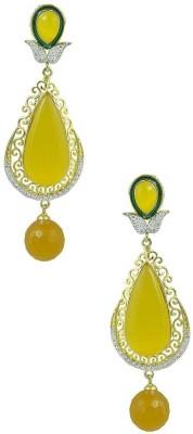 Miska Silver Beautiful Cubic Zirconia Brass Drop Earring