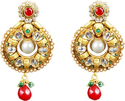 Streetdeal Streetdeal Jewellery Of Pearl And Red Stone Cubic Zirconia Brass Drop Earring