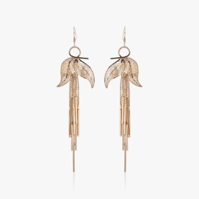Shamoda Fashionable Golden Leaf & Stick Metal Tassel Earring