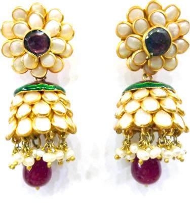 Prism Jewels Semi-Precious Jewelry Pacchi Work Pearl Alloy Jhumki Earring