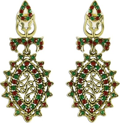 The Fine World Golden Base Creatively Patterned And Adorned With Mix Of Maroon And Green Stones Zircon Metal Drop Earring