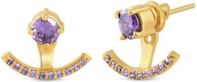 VelvetCase Amethyst and Pearl Arc Earrings Silver Stud Earring