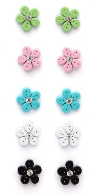 Madclozet Flower Button Metal Earring Set
