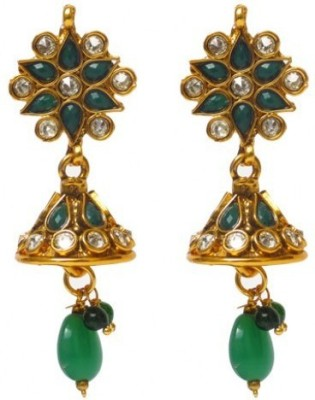 Jillcart Gold Plated Jhumka With Green Stones Ruby Copper Jhumki Earring