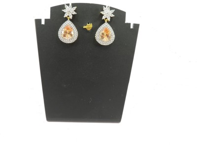 Bharat Sales Flower Stone With Yellow Stone Yellow Color Cubic Zirconia Copper Drop Earring
