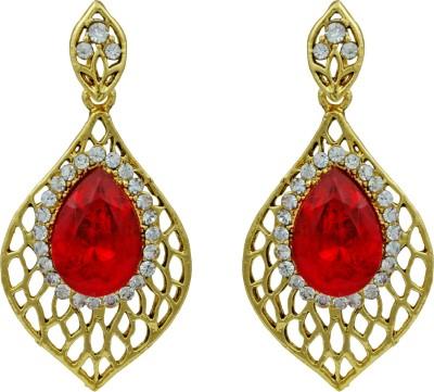 Pankh Red Bead Topaz Brass Drop Earring