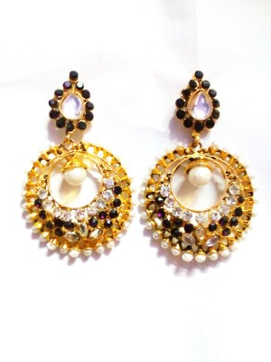 maya creation TREDITIONAL Gold Chandbali Earring