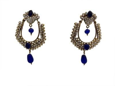 W Stop Chandbali Crystal Brass Drop Earring