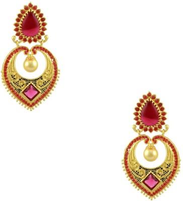 Orniza Rajwadi Earrings in Rani Color and Matt Gold Polish Brass Dangle Earring