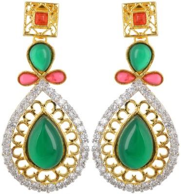 BHANSALI JEWELS American Diamond Earrings Cubic Zirconia Brass Chandelier Earring