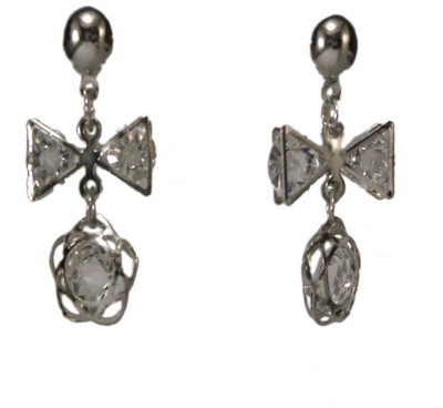 Bandish Silver toned Floral stone studded Alloy Dangle Earring