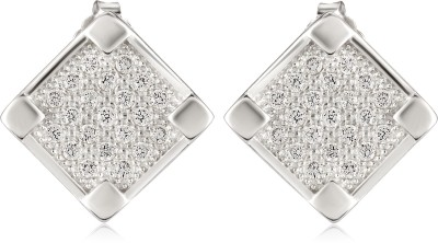 Om Jewells Twin Square Cubic Zirconia Sterling Silver Stud Earring