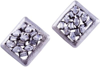 Jahnvi Square Cz silver Metal Stud Earring