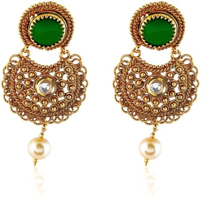 Royal Bling Emerald Spiral Link Intricate Copper Drop Earring