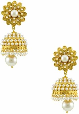 Orniza Rajwadi Earrings in Pearl Color with Golden Polish Brass Drop Earring