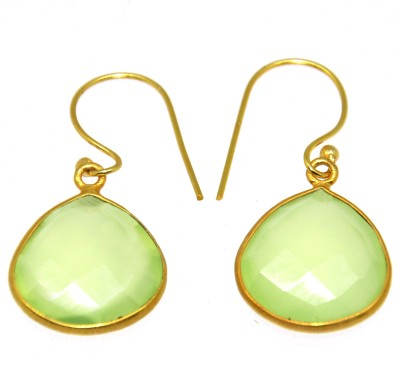 Casa De Plata Pear Green Prehnite Brass Earring Brass Dangle Earring
