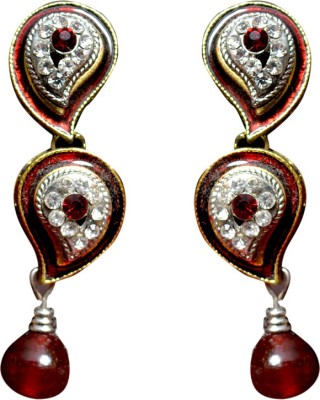 Gracent Red Stone Hangings Alloy, Metal Drop Earring