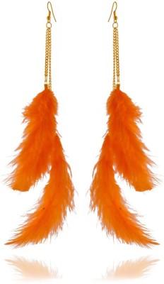 Rooh Jewellery Feather Orange Fabric Dangle Earring