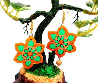 SrinidhiHandiCreations Flower Terracotta Dangle Earring