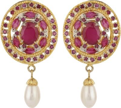 Dilan Jewels Ruby Pearl Droplets Zircon Alloy Drop Earring