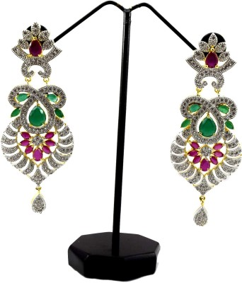 Bharat Sales Latest Fashion And Pretty Diaomand Multicolor Cubic Zirconia Alloy Earring Set