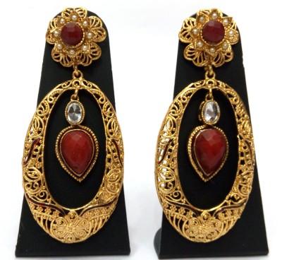 Womaniya Golden Ellipse Alloy Drop Earring