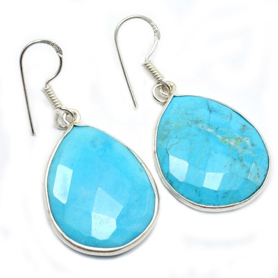 Silvesto India 1477 Turquoise Sterling Silver Drop Earring, Dangle Earring