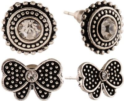 Anokhi Ada Butterfly and Rhinestone Studded Dot Circle Metal Stud Earring