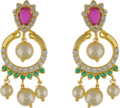 Jewel Planet Sparkling Pearl Alloy Chandbali Earring