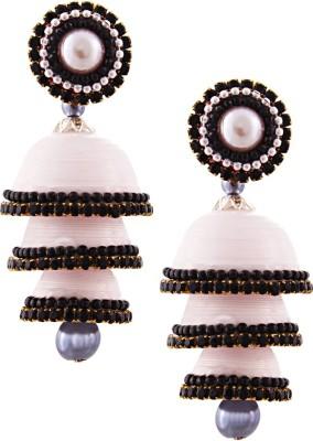 Jaipur Raga Hancrafted Single Stud White Triple Jhumka Brass Jhumki Earring