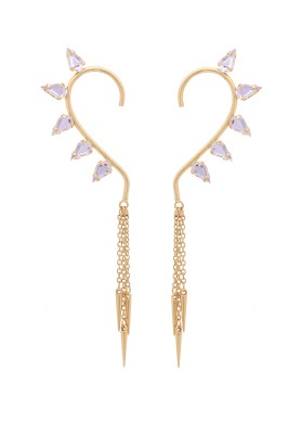 Sankisho Spice-3 Golden Metal, Alloy, Glass Cuff Earring