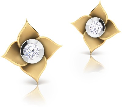CaratStyle Four Leaves Yellow Gold 18kt Diamond Stud Earring