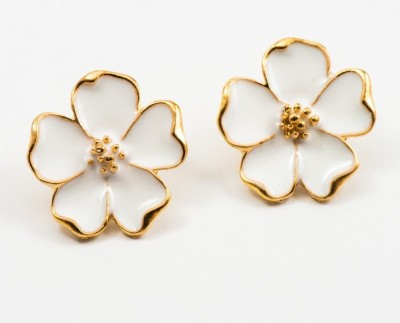 Fabula Gold & White Floral Jewellery for Women, Girls & Ladies Metal Stud Earring