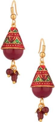 Factorywala Red Stone Drop Enamel s Alloy Dangle Earring