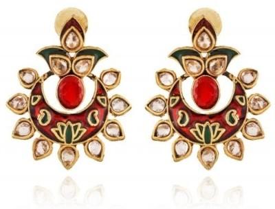 Rooh Jewellery Meenakari Lotus Copper Dangle Earring