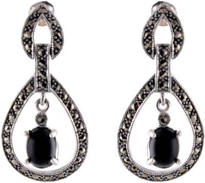 Aashirwad Markasite Black Silver Drop Earring