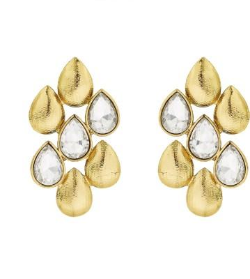 BeBold Drop Kundan Matte Brass Drop Earring