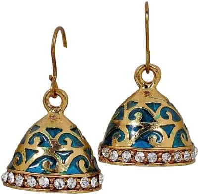 Deco Junction Beautiful Floral Design in Blue Alloy Jhumki Earring