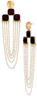 Grandiose Grandiose Long Statement Dangler Evening Wear Black Stone Dangling Earrings for Women Stone Dangle Earring
