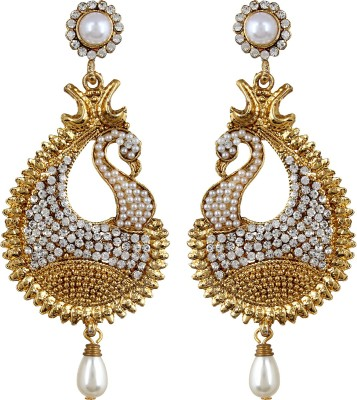 Fabula Gold & White Zircon American Diamond AD CZ & Pearl Traditional Ethnic Jewellery Peacock for Women, Girls & Ladies Metal Drop Earring