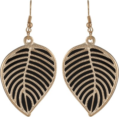 GemRoute Golden Black Palm Leaf Alloy Dangle Earring