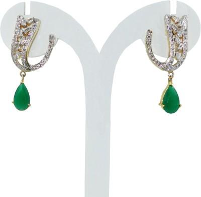 Anjan Lovely Golden Designer Cubic Zirconia Brass Drop Earring
