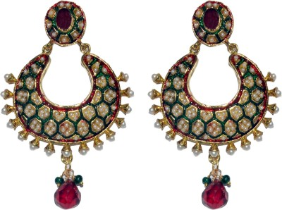 ACW Gold Plated Chand Bali with Green and Maroon Meenakari Work and Pearls Earrings for Women Alloy Chandbali Earring