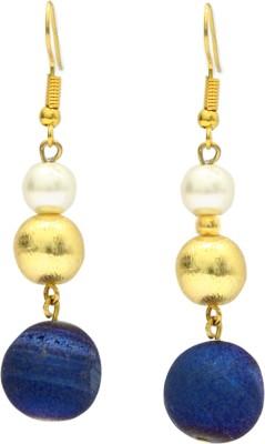Eighth Fold Druzy Bead Brass Drop Earring