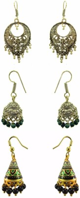 Chhayamoy Oxidised Golden Jhumki & Meenakari Alloy Earring Set