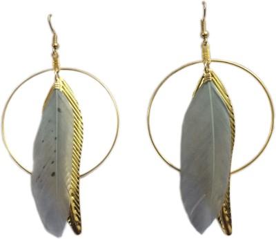 Loops n knots Grey Feather Metal Dangle Earring