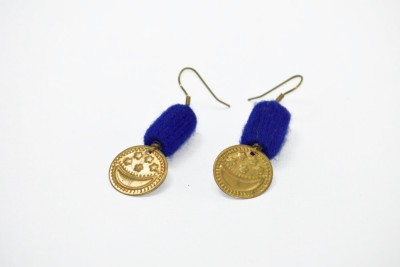 Ba No Batwo Cobalt Blue Coin Cotton Dori, Plastic Dangle Earring