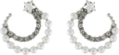 One Stop Fashion Glamorous And Trendy White Colour Pearls And Stone Alloy Stud Earring